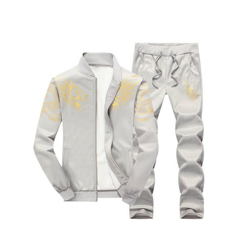Stand Collar Dragon Print Zip Up Jacket and Pants Twinset - Gray M