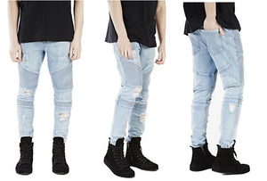 Hip-hop Men Jeans masculina Casual Denim distressed Men's Slim Jeans pants Brand Biker jeans skinny rock ripped jeans homme