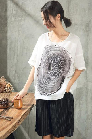SUMMER LOVELY PRINTING CASUAL LOOSE T-SHIRT WOMEN TOPS ST059