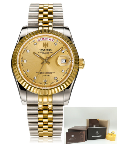 GOLD QUARTZ DIAMOND WATERPROOF FASHION WATCHES