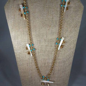 "40"" Mother of Pearl/ Turquoise Necklace"