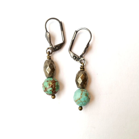 Gemstone and pyrite earrings