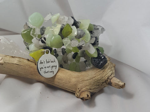 New Jade and Tourmilated Quartz Large Stone Bracelet