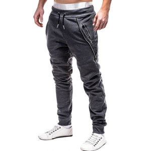Zip Embellished Casual Sport Jogger Pants - Dark Gray M