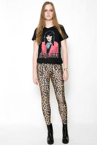 IN STOCK LEOPARD FUR PRINT SPANDEX LEGGINGS