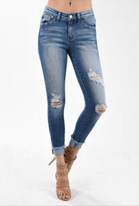 Kan Can Distressed Skinny Jeans With Botton Cuff