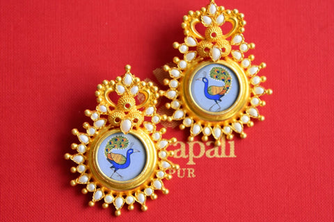 20B523 Silver Gold Plated Peacock Painting Earrings with Pearls