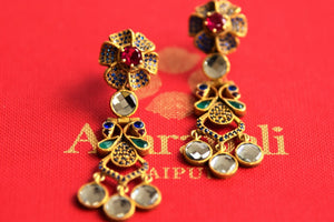 20B528 Beautiful Silver Gold Plated Colorful Glass Earrings