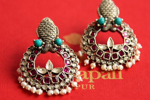 20B530 Silver Glass Chandbaali Earrings with Pearl drops