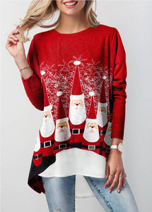 Asymmetric Hem Faux Two Piece Christmas T Shirt