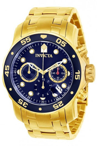 INVICTA PRO DIVER MEN'S QUARTZ GOLD CASE, BLUE DIAL - 21923
