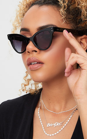 BLACK ACRYLIC CAT EYE SUNGLASSES