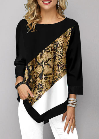 Printed Three Quarter Sleeve Asymmetric Hem T Shirt