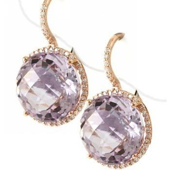 Pink Amethyst Diamond Leverback Drop Earrings