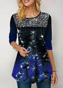 Long Sleeve Christmas Print Sequin Embellished T Shirt