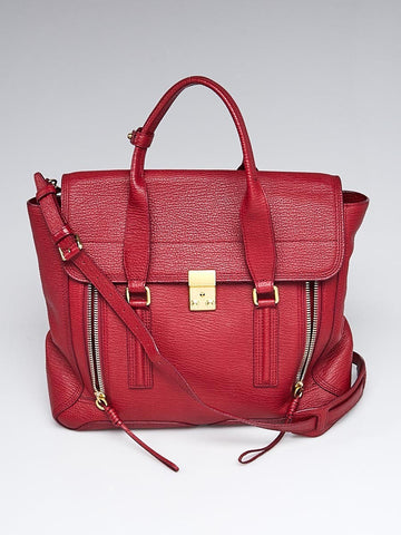 Crimson Shark Embossed Leather Large Pashli Satchel Bag