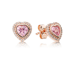 Sparkling Love Stud Earrings, PANDORA Rose™ & Pink & Clear CZ