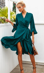 MID-CENTURY ROMANCE SATIN 3/4 FLARE SLEEVE CROSS WRAP V NECK RUFFLE TIE WRAP CASUAL MIDI DRESS - 2 COLORS AVAILABLE