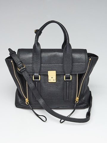 Black Shark Embossed Leather Medium Pashli Shoulder Bag