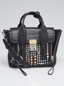 Black Studded Leather Mini Pashli Bag