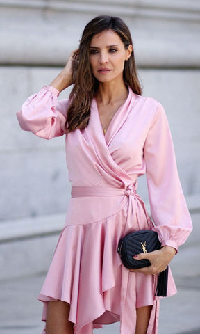 MAKE ME BLUSH PINK SATIN LONG LANTERN SLEEVE CROSS WRAP V NECK ASYMMETRIC WRAP MINI DRESS