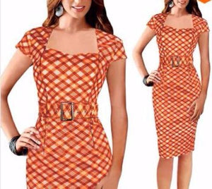 Print Square Neck Pencil Dress - With Belt