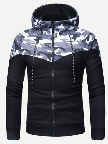 Men Camo Print Hooded Sweatshirt