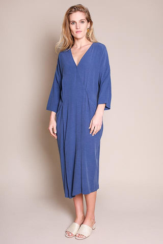 MIDI WRAP DRESS IN BLUE