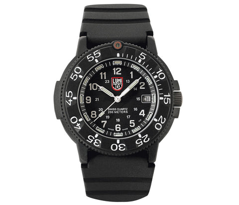 Luminox Original Navy Seal Dive Watch Series No.3001 43mm Polycarbonate Case and Black Rubber Strap with Black Dial | Luminox