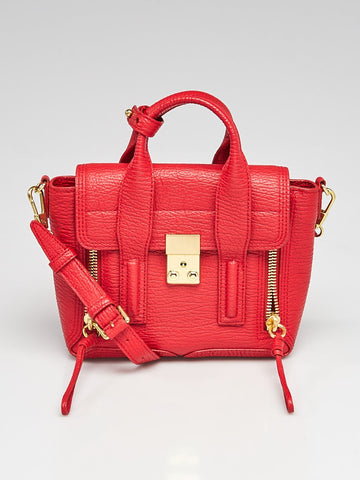 Red Shark Embossed Leather Mini Pashli Satchel Bag