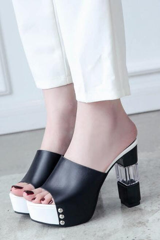 Sexy Color Block Peep-Toe Thick High Heel Sandals