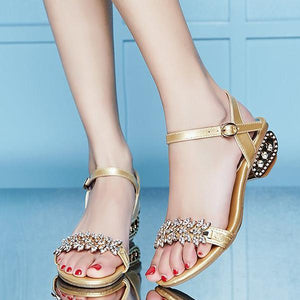 Shaped Rhinestone Buckle Low Heel Sandals