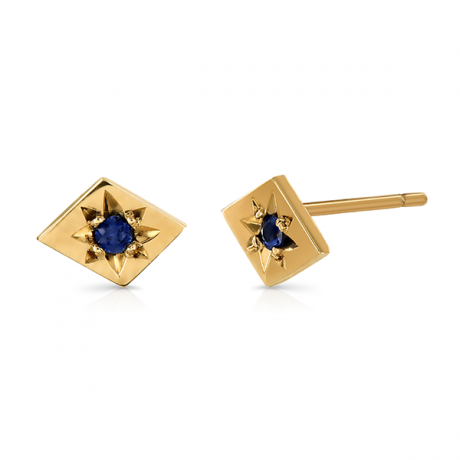 Kite Gold Sapphire Stud Earrings