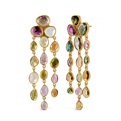 Tourmaline Waterfall Earrings Gold Plate