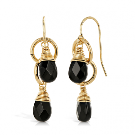 Double Loop Onyx Gold Drop Earrings