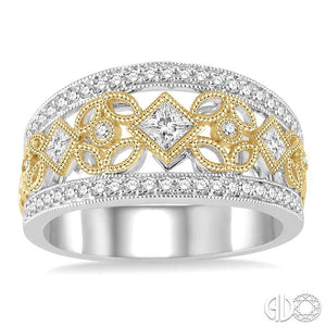 5/8 Ctw Round and Princess Cut Diamond Wide Band in 14K White and Yellow Gold