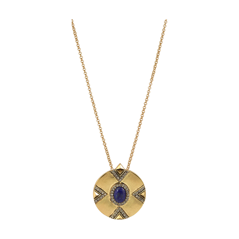 DORELIA SINGLE COIN LAPIS PENDANT NECKLACE