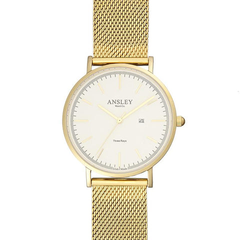Ansley Women's Gold Case Watch with Gold Mesh Strap
