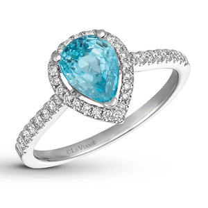 LeVian Zircon Ring 1/4 ct tw Diamonds 14K Vanilla Gold