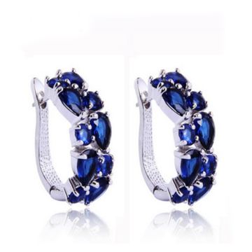 ARLECCHINO PICCOLO - WHITE GOLD BLUE CZ DIAMOND GOLD STUD EARRINGS
