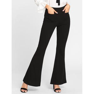 Patch Pocket Front Flared Pants
