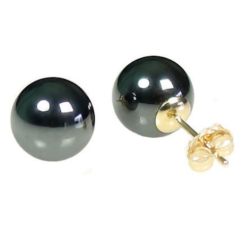 10MM BLACK HEMATINE BALL STUD EARRINGS