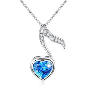 Musical Jewelry 925 Sterling Silver Blue Cubic Zirconia with Eighth note charm.