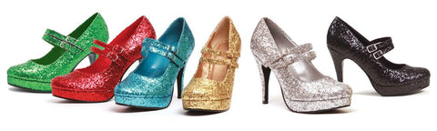 4 Inch Heel Double Strap Glitter Mary Jane