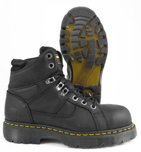 DR. MARTENS IRONBRIDGE BLACK LEATHER STEEL TOE SLIP RESISTANT WORK BOOTS R13400001