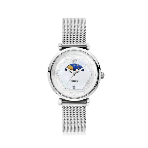 BIRKS NOVA ™ MOONPHASE TIMEPIECE FOR HER IN STAINLESS STEEL WITH MOTHER-OF-PEARL DIAL