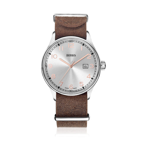 BIRKS REVOLUTION ™ WATCH WITH DISTRESSED LEATHER STRAP