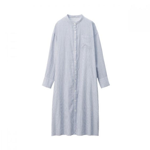 WOMEN INDIAN COTTON DOUBLE GAUZE STAND COLLAR DRESS