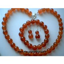 GENUINE 10MM RED AGATE / 925 STERLING SILVER SET
