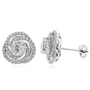 Surprise Her with this Women's Rhodium Plated 925 Sterling Silver Earring with Round Brilliant 6A Grade Premium Cubic Zirconia, 99.99% Close to a Real Diamond!